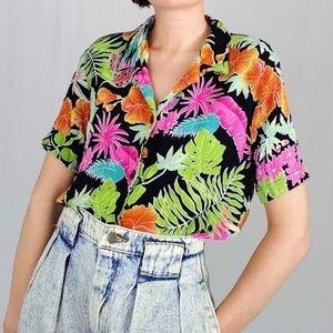 80's tropical Hawaiian short sleeve button down